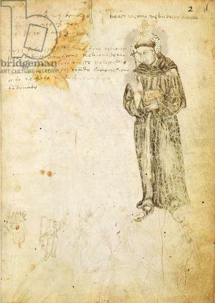 Ms 598/1361 fol.1r Portrait of Fra Jacopone da Todi (c.1230-1306) from the 'Recueil de Laudi' (vellum)