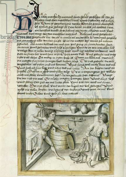 Ms 680/1389 A burglar taken by surprise, from 'The Fables of Bidpai', c.1480 (w/c on paper)