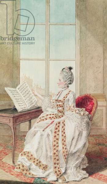 Mademoiselle d'Avenart ou d'Aveneaux (pencil, red chalk, watercolour and gouache on paper)