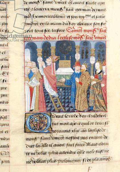 Ms 869/522 f.41r Dedication by St. Germain in the Presence of Clotaire (d.629) of the Church of St. Vincent, built by Childebert, 1217-37 (vellum)