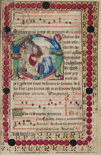 Ms 48/1605 fol.4r The Nativity with musical notes, from 'Rituel et Ceremonial a l'Usage de Renee de Bourbon, Abbesse de Fontevrault' (vellum)