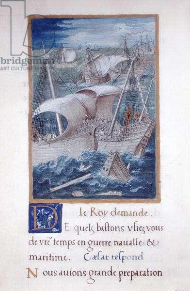 Ms 764/1139 vol.3 fol.29 A Naval Battle, from 'Les Commentaires de la Guerre Gallique' by Francois Demoulins, 1520 (vellum)