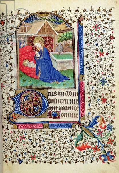 Ms 69/1456 The Nativity, from the 'Hours of Philippe de Bethune' (vellum)