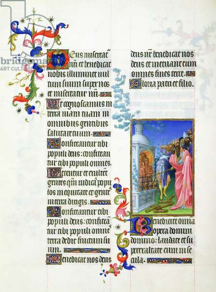 Ms 65/1284 fol.40 Children in the furnace, Book of Daniel, from the Très Riches Heures du Duc de Berry (vellum)