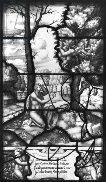 Psyche Trying to Throw Herself into the River, from the Galerie de Psyche, Chateau d'Ecouen, 1542-44 (stained glass) (b/w photo)