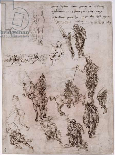 Sheet of studies with riding armed warriors, angels (recto) (pen & ink & wash on paper)
