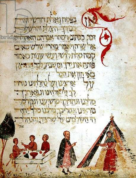 Ms 732-1352 fol.25v Abraham, Sarah and the three visitors, from a Haggadah (vellum)