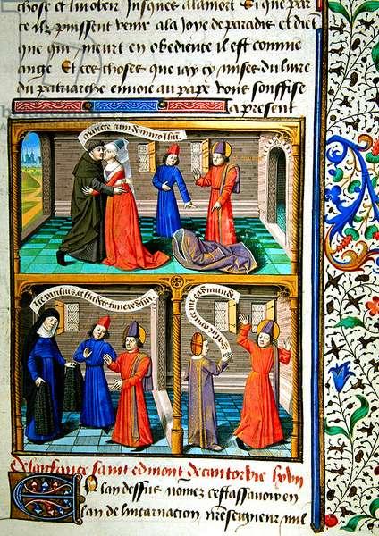 Ms 722/1196 fol.462r, St. Edmund of Canterbury, from Le Miroir Historial, by Vincent de Beauvais (vellum)