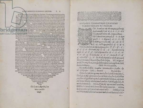 Apollonius and Herodianus, double page in Greek and Latin (ink on paper)