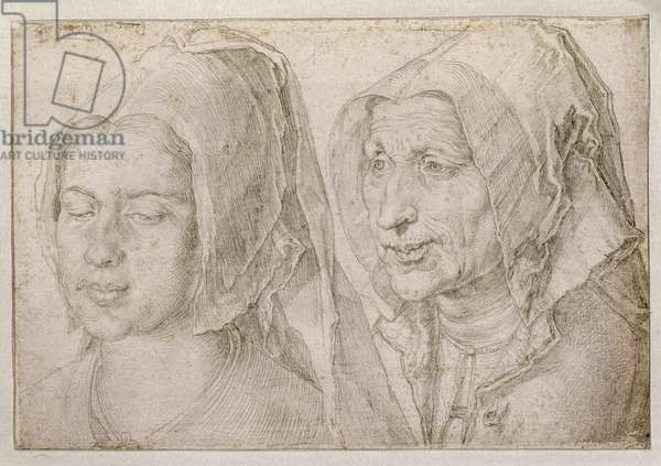 An Young and Old Woman from Bergen-op-Zoom, 1520 (silverpoint on paper)