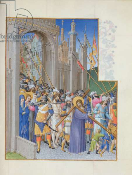 Ms 65/1284 Fol.147r Christ Carrying the Cross on his way to Calvary, from Tres Riches Heures du Duc de Berry, early 15th century (vellum)