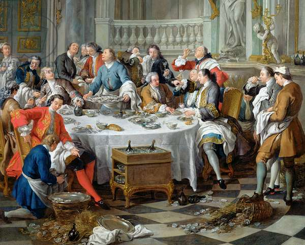 The Oyster Lunch, 1734 (oil on canvas) (detail of 21146)