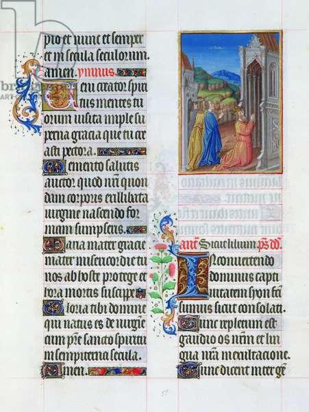 Ms. 65/1284 fol. 55r David in prayer, from 'Très Riches Heures du Duc de Berry' (vellum)