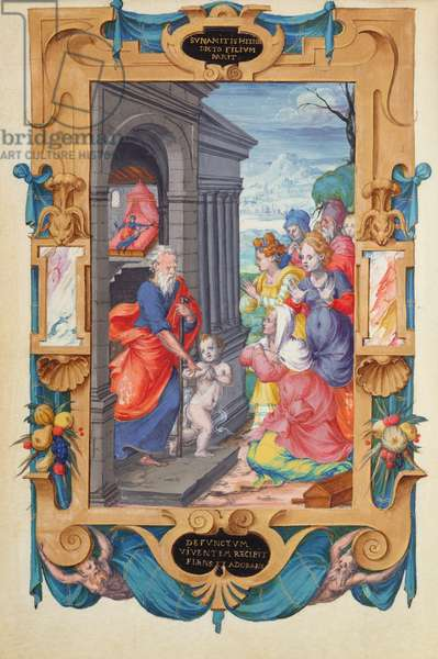 Ms 1476/1943 fol.48v Elisha raising the son of the Shunamite, from 'Heures du Connetable Anne de Montmorency', 1549 (oil on canvas)