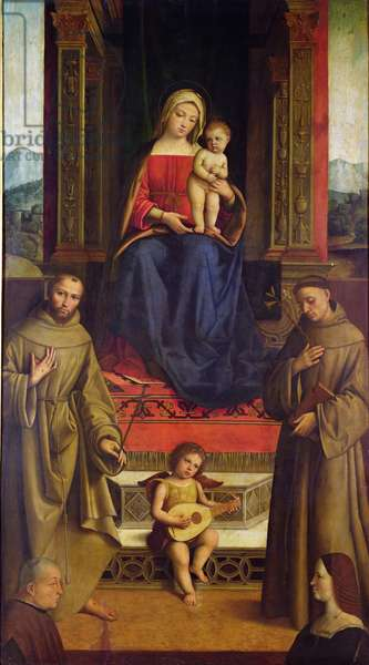 The Virgin and Child Enthroned with St. Francis, St. Anthony and Two Donors, c.1510-11 (oil on panel)