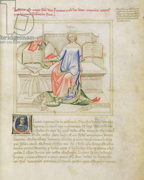 Ms 599/1426 fol.4r Justice and Nero, from 'Panegyric of Bruzio Visconti' written by Bartolomeo da Bologna di Bartoli (fl.1374) (vellum)