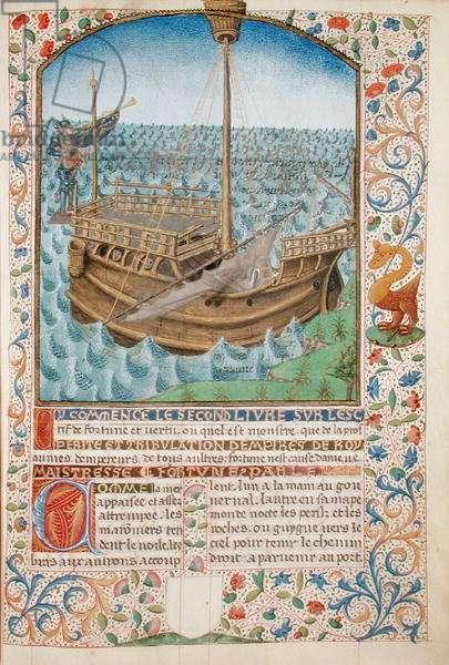 Ms 296/1512 A Ship, from 'L'Estrif de Fortune et Vertu' by Martin le Franc (vellum)