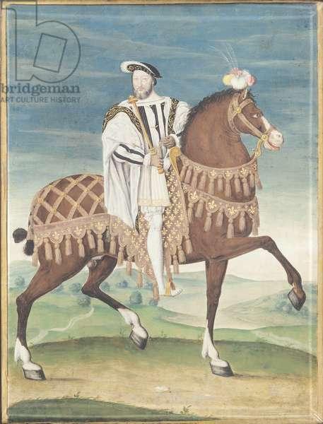 Equestrian Portrait of Francois I (gouache on vellum)
