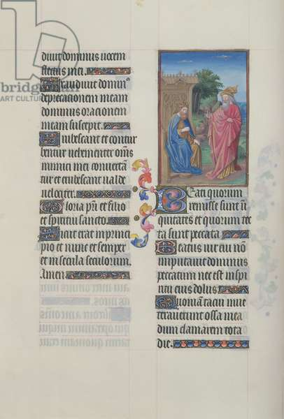Ms. 65/1284 fol. 65v Psalm 31, David and Nathan, from 'Très Riches Heures du Duc de Berry' (vellum)