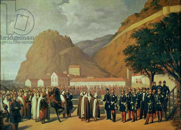 Submission of Abd el-Kader (1808-83) to Henri d'Orleans (1822-97) Duke of Aumale, 23rd December 1847 (oil on canvas)