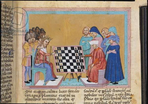 Ms 286/1075 f.25r Chess players, from the Latin edition of 'Libellus de Moribus' written by Jacques de Cessoles (vellum)
