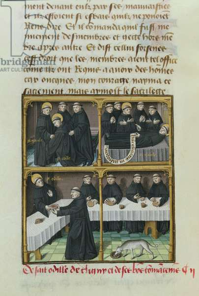 Ms 722/1196 f.141v Scenes from the life of St. Mayeul (906-994) and St. Odilo (962-1049) from Le Miroir Historial, by Vincent de Beauvais (vellum)