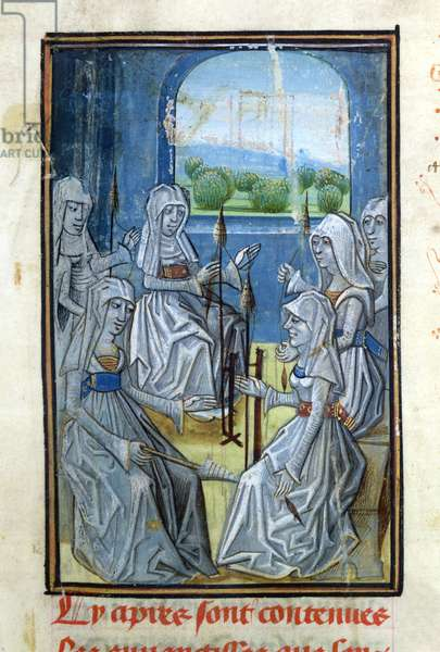 Ms 654/1572 f.1r Group of Women Spinning, from 'Les Evangiles des Quenouilles. Les Advineaux Amoureux' (vellum) (detail of 209924)
