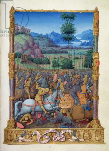 Ms 65/1284 fol.95r Battle Scene, from the 'Tres Riches Heures du Duc de Berry' (vellum)