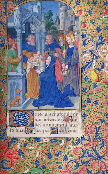 Ms 82/1400 fol.69 The Presentation in the Temple, from the 'Hours of Seguier' (vellum)