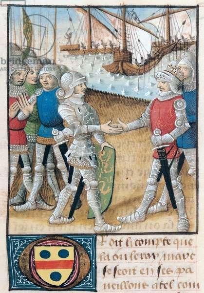 Ms 645-647/315-317 t.1 fol.70 Meeting between Blioveris and Tristan, from the Roman de Tristan (vellum)