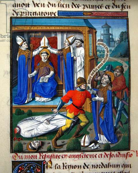 Ms 722/1196 fol.83v, Risen from the dead in England, from Le Miroir Historial, by Vincent de Beauvais (vellum)