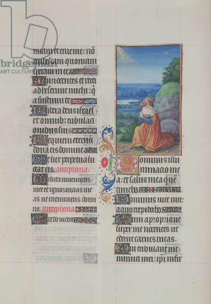 Ms. 65/1284 fol. 92v Psalm 26, David in prayer, from 'Très Riches Heures du Duc de Berry' (vellum)