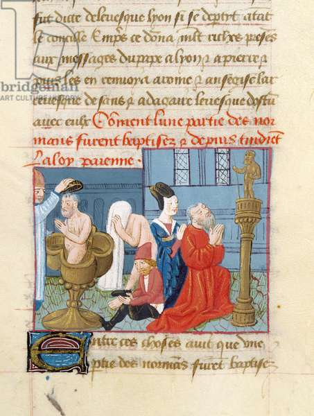 Ms 869/522 fol.242r Baptism of the Normans, 1217-37 (vellum)