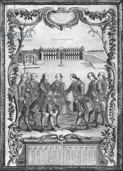 Calendar, arrival of Louis XV (1710-74) and the Duke of York welcomed by the Prince of Conde on 10th August 1767, 1768 (engraving) (b/w photo)