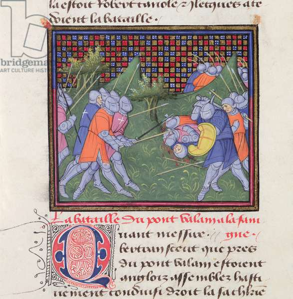 Ms 490/465 Fol.46v A battle between French and English soldiers, from the Story of Ogier the Dane (vellum)