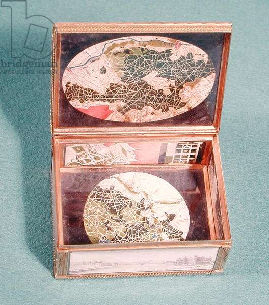 Box decorated with plans of Chantilly, c.1781-83 (ivory & gilded silver)