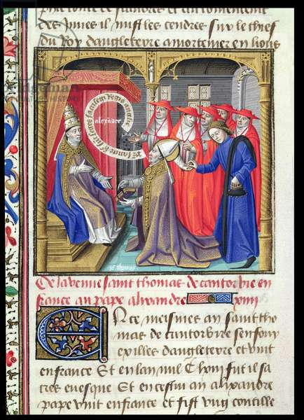 St. Thomas a Becket (c.1118-70) meeting Pope Alexander III (1105-81) in France, from Le Miroir Historial, by Vincent de Beauvais (vellum)