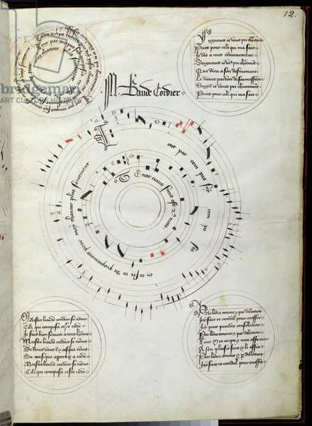 Ms 564/1047 fol.12, 'Tout Par Compas Suy Composee..', illuminated composition by Baude Cordier, from a collection of Medieval ballads, motets, and songs (ink on vellum)