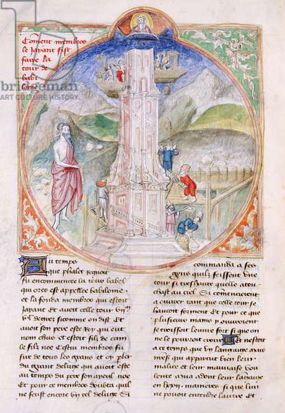 Ms 28/1378 fol.8v Construction of the Tower of Babel, from the Book of the Apocalypse (vellum)