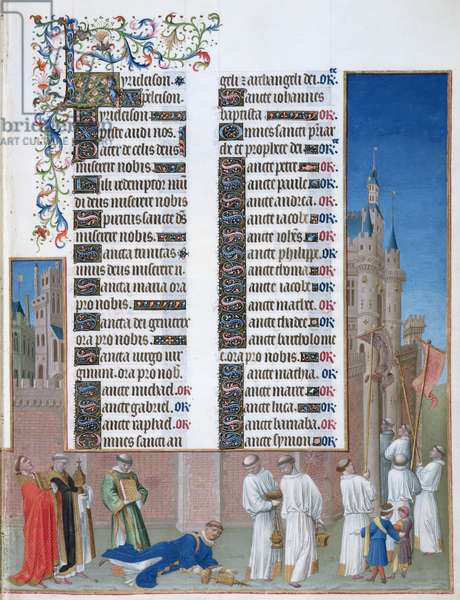 Ms 65/1284 f.72r The Procession of St. Gregory to cure Rome of the Plague, right hand section, from the 'Tres Riches Heures du Duc de Berry' (vellum)