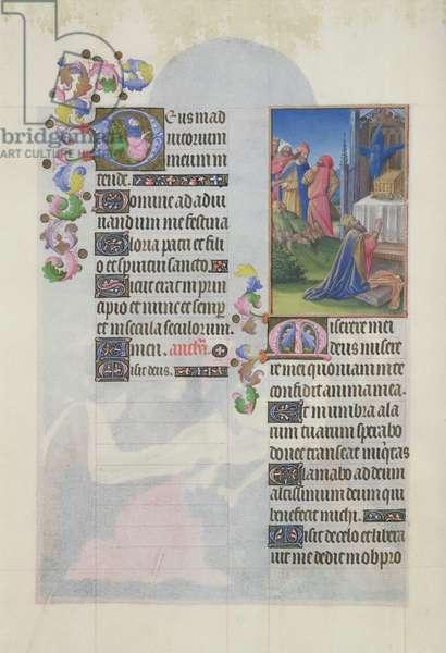 Ms. 65/1284 fol. 157v David in Prayer, from 'Très Riches Heures du Duc de Berry' (vellum)