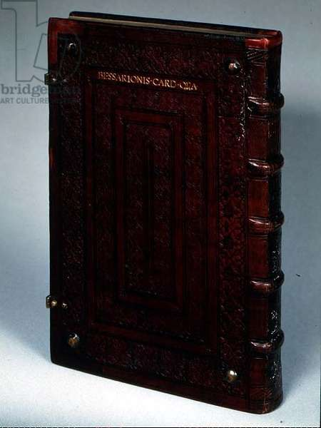 Spine and back cover of an early printed book, with the inscription 'Bessarionis-Card-Opa', 1503 (leather)
