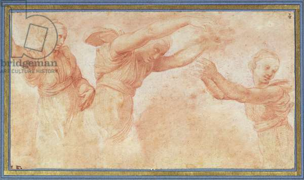 Three figures of the Horae throwing flowers, study for the fresco of the Banquet of the Gods in the Villa Farnesina, Rome, c.1517 (red chalk on paper)