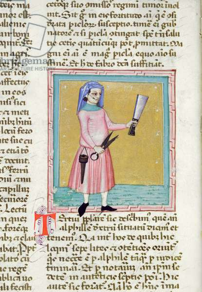 Ms 286/1075 fol.15v Man holding a knife, from the Latin edition of 'Libellus de Moribus' written by Jacques de Cessoles (vellum)