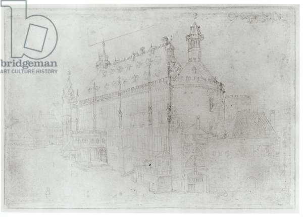 The Town Hall of Aachen, recto of 'Travel to the Netherlands', 1520 (silverpoint on paper) (b/w photo)
