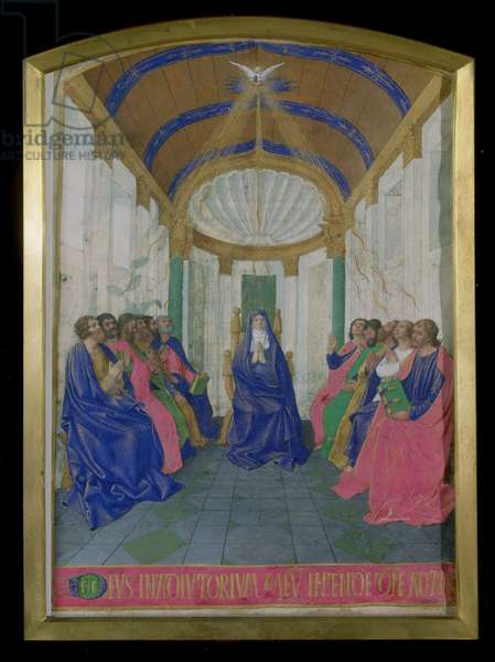 Ms Fr.71 fol.24 Pentecost, from the Hours of the Cross and the Holy Spirit, from the Hours of Etienne Chevalier, c.1445 (vellum)
