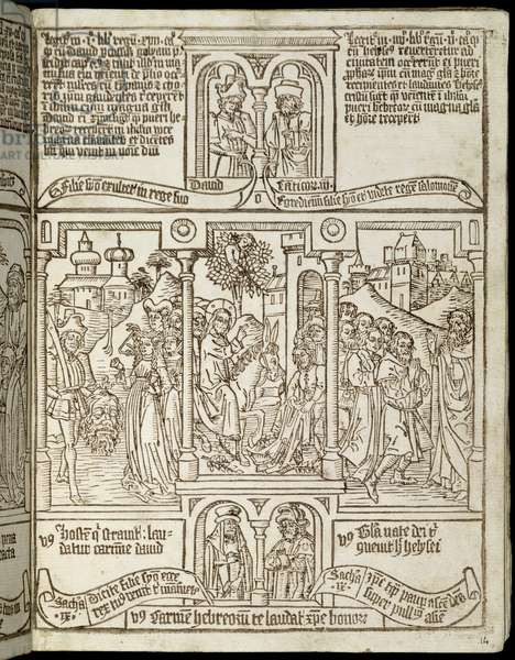David received in triumph after his victory over Goliath, the entrance of Christ into Jerusalem, Elijah received at the gates of Jericho by the sons of the prophets, from Biblia Pauperum, early 15th century (xylograph)