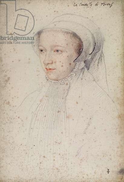 Charlotte de Pisseleu (1524-1604), femme de Francois d'Aaugour, comte de Vertus, c.1555 (pencil on paper)