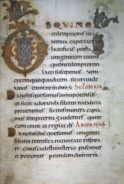 Ms 40/1447, Prayers for mass, from Sacramentaire de Lorsch (vellum)