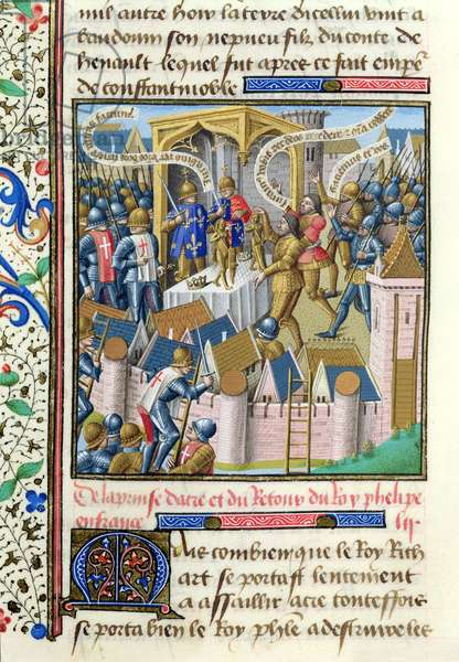 Ms 722/1196 fol.358v  Capture of Acre in 1191, from Le Miroir Historial, by Vincent de Beauvais (vellum)